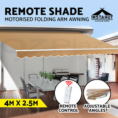 Instahut Motorised Folding Arm Awning Retractable Outdoor Beige Sunshade 4X2.5M