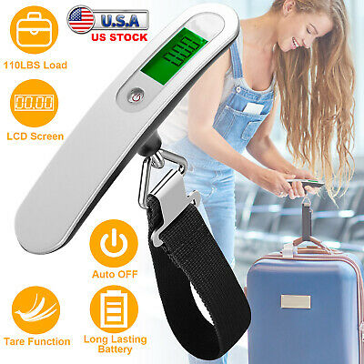 Travel Portable 110lb / 50kg LCD Digital Hanging Luggage Scale Electronic Weight