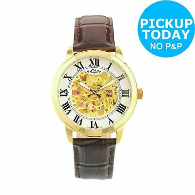 Rotary Men's Brown Leather Strap Gold Plated Skeleton Watch.