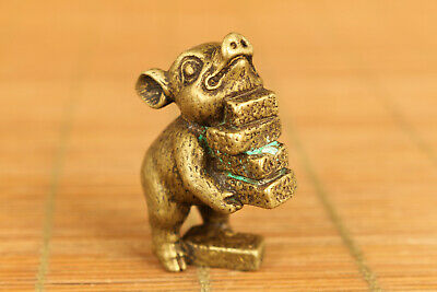 Lovely old bronze hand carving pig statue figure fortune gift table deco