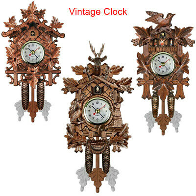 Vintage Wooden Wall Cuckoo Clock Hanging Art Stylish Crafts for Home Hotel Decor