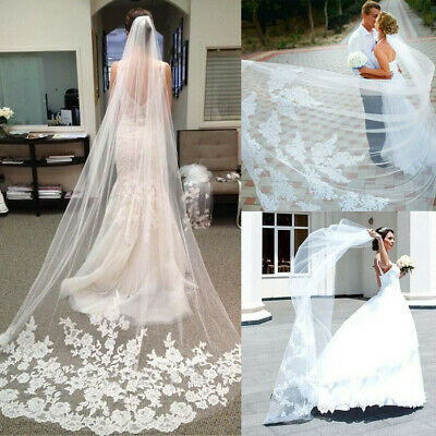 3M White Ivory Wedding Bridal Veil 1T Cathedral Applique Edge Lace With Comb UK