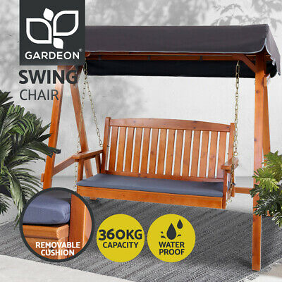 【20% OFF$343.2】Wooden Swing Chair Garden Bench Canopy 3 Seater Outdoor Furniture