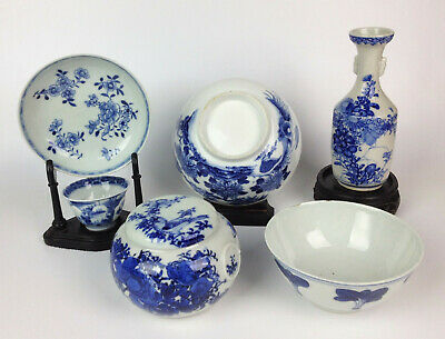 Job Lot Chinese Antiques- Vase Kangxi Tea Bowl Ginger Jar Blue & White- Quantity
