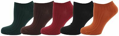 Zest Ladies 5 Pack Cotton Rich Ribbed Dark Coloured Trainer Liners 4-6