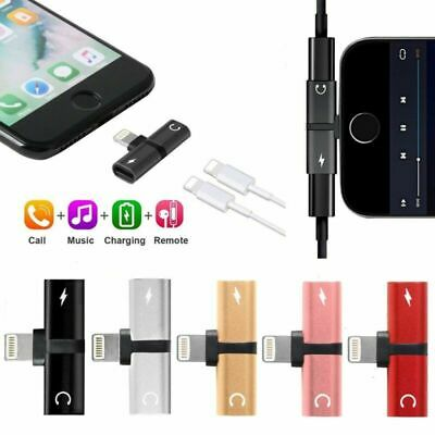 Dual Lightning Headphone Audio & Charger Adapter Splitter For iPhone X 7 8 Plus