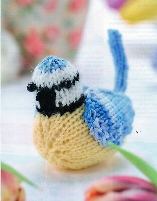 ~ Pull-Out Knitting Pattern For Adorable Little Blue Tit Bird Toy/Ornament ~