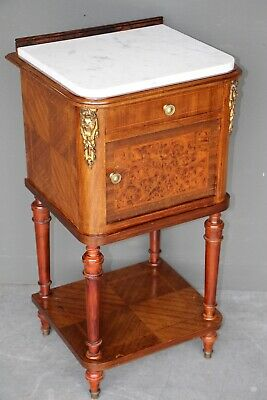 French antique marquetry bedside cabinet white carrara marble top ormolu mounts
