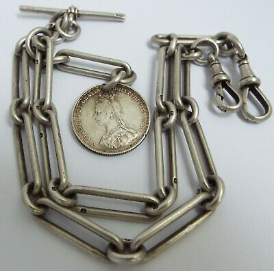 SUPERB CLEAN HEAVY 59g ENGLISH ANTIQUE 1906 STERLING SILVER DOUBLE ALBERT CHAIN