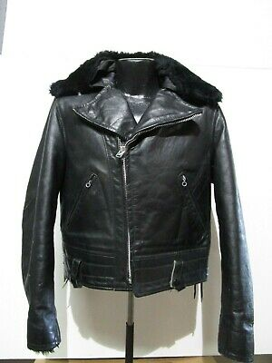 cdb7032e1e0c5 VINTAGE SCHOTT PERFECTO BLACK LEATHER JACKET Heavy size 42 MADE IN ...