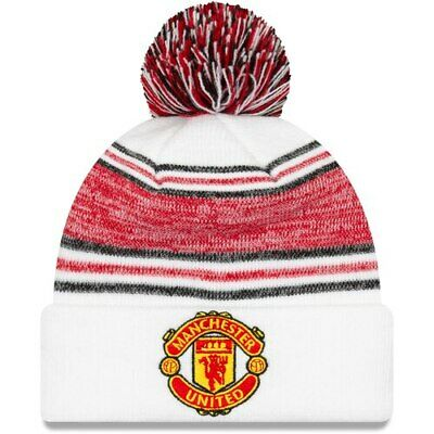 Manchester United New Era Women's Bobble Cuffed Knit Hat with Pom - White