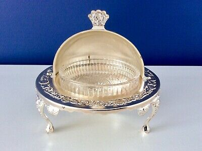 Vintage UNUSED Chased Silver Plated Roll Top Butter/Caviar Dish & Glass Liner