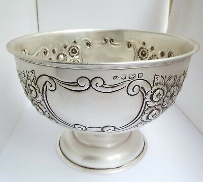 STUNNING CLEAN LARGE HEAVY 544g ENGLISH ANTIQUE 1913 STERLING SILVER FRUIT BOWL