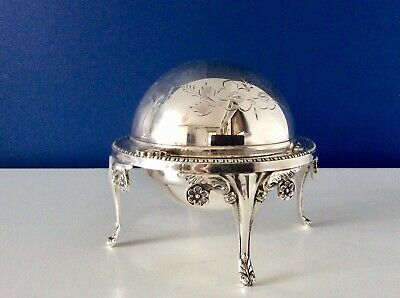 A Beautiful Antique Chased Silver Plated Butter/Caviar Dish With Elegant Patters