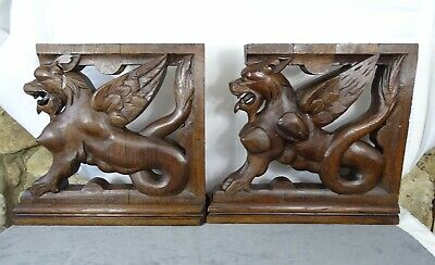Antique French Pair of Pedestals Statues Carved Wood Solid Oak Griffins/ 19 th