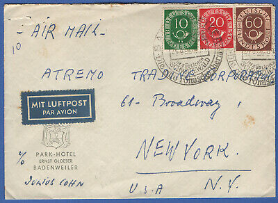 W370 -  GERMANY 1952 Airmail Cover > USA, Posthorn Issue, 90pfg rate BADENWEILER