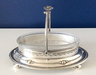 Beautiful Antique Victorian Footed Silver Plated Butter/Caviar Dish C1860