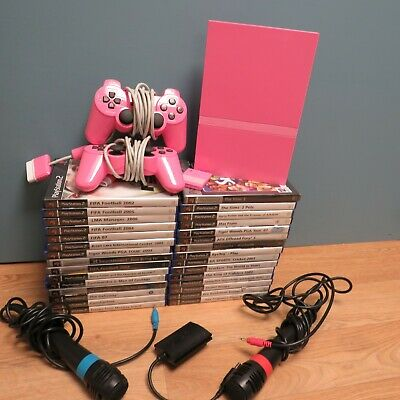 Sony PS2 Pink Slimline Console Working & Games Bundle x30 - The Sims 2,Monkey Is