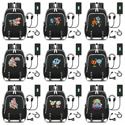 Anime The Amazing World of Gumball USB Backpack Teens Shoulder Travel Laptop Bag