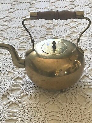 Vintage Copper Tea Pot With Brass And Wood Handle Very Nice