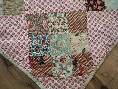 """EARLY! 19th c Antique PA Fabric Sampler QUILT 106x102"""" Prussian, Chintz++"""