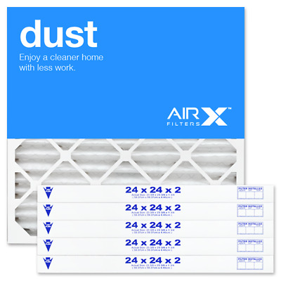 AIRx Filters Dust 24x24x2 Air Filter Replacement Pleated MERV 8, 6-Pk