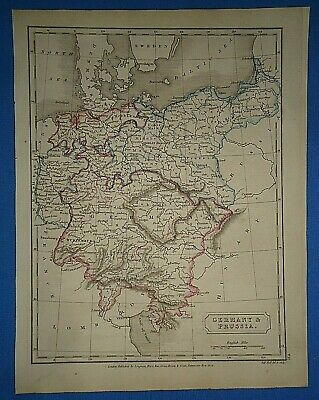Antique 1825 GERMANY & PRUSSIA MAP Old Vintage Original Hand Colored Atlas Map