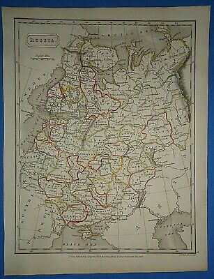 Antique 1825 RUSSIA MAP Old Vintage Original Hand Colored Atlas Map