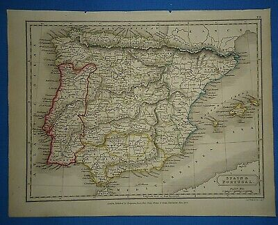 Antique 1825 SPAIN - PORTUGAL MAP Old Vintage Original Hand Colored Atlas Map