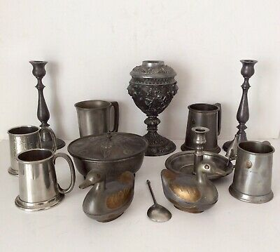 Joblot Of Antique/Vintage Pewter Items Aprox. 7kg