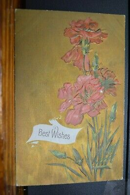 Red Carnations Art Nouveau Style C 1915 Best Wishes Embossed Postcard