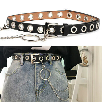 Rivet Eyelet Stud Punk Rock Goth Biker Women Girls Ladies Men Waist Belt Chain