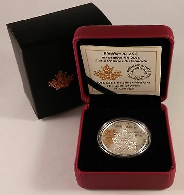 2016 Canada 25 Dollars Coat Of Arms Of Canada Piedfort Fine Silver Coin