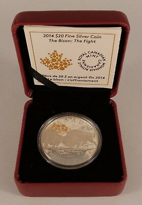 2014 CANADA $20 The Bison: The Fight Proof Fine Silver Coin