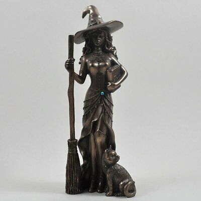 Witch with Black Cat Bronze Ornament 20cm