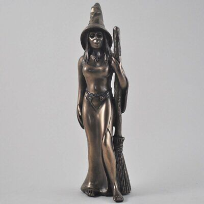 Witch with Broom Bronze Ornament 23cm