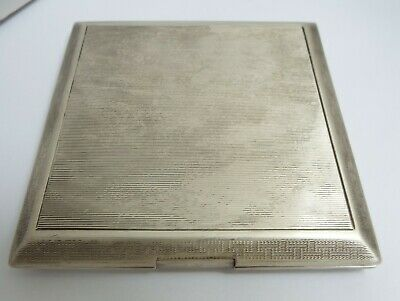 Lovely Heavy English Antique Art Deco 1923 Solid Sterling Silver Cigarette Case