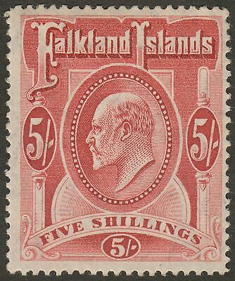 Falkland Islands 1904 KEVII 5sh Red Mint SG50 cat £225 one thin perf