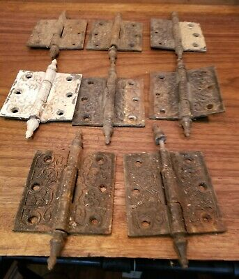 Set of 8 Antique Ornate Door Hinges