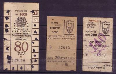 Lot of 3 Early Israel 1950's Dan Unusual Uncommon Buss Tag Transport Tickets