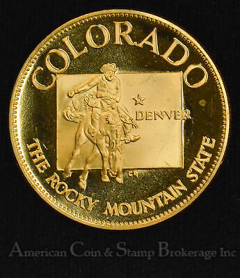 38th State Colorado Rocky Mountain State Gold plated Silver Medal