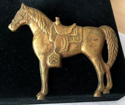 Vtg ANTIQUE Brooch Pin Art Deco or Victorian Equestrian Horse Gold Jewelry lot a