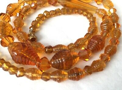 Vtg ANTIQUE Necklace Art Deco or Victorian Orange Glass Crystal Jewelry lot s
