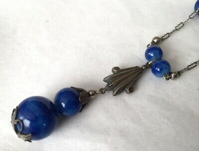Vtg ANTIQUE Necklace Art Deco or Victorian Blue Glass Bead AS IS Jewelry lot s