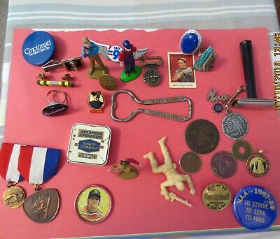 Vintage Junk Drawer Lot Coins Brass Tokens Good For All Night Rings Tie Tac Navy