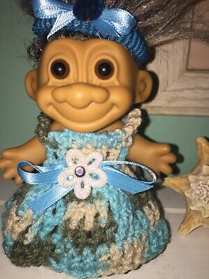 "Troll crochet doll clothes -Aqua Surprise Outfit-5-6""troll-BY NIKO"