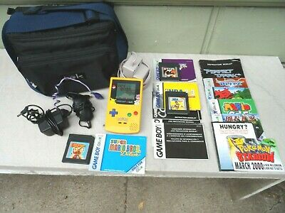Nintendo Gameboy Color Pikachu Pokemon Edition With Lots of Accessories, Bag