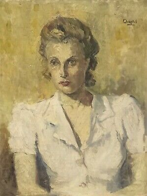 Large Mid 20Th Century French Signed Oil Painting - Portrait Of Lady White Shirt
