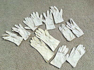 VTG Ladies Dress Gloves Lot 6 Pairs White stretch ONE LEATHER PAIR SMALL eyelet