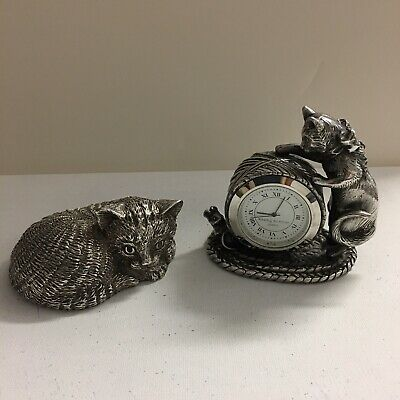 Reed & Barton Silverplate 1824 Collection Cat & Mouse Clock & Music Box Cat